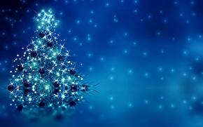 Картинка украшения, елка, Новый Год, Рождество, Christmas, blue, tree, New Year, decoration