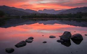 Картинка небо, отражения, пейзаж, закат, горы, камни, вечер, водоем, обои от lolita777