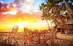 Картинка песок, море, небо, вода, облака, пейзаж, закат, природа, пальмы, океан, побережье, стулья, Кафе, Индия, хижины, ...