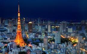 Обои небо, ночь, огни, здания, башня, дома, небоскребы, Япония, освещение, Токио, Tokyo, Japan, синее, мегаполис, столица, ...
