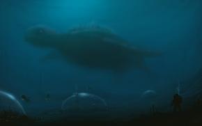 Картинка море, вода, город, огни, человек, черепаха, арт, подводный мир, купол, гигантская