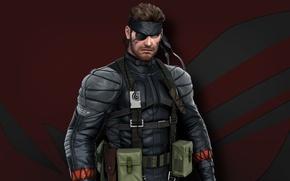 Картинка red, gun, pistol, soldier, weapon, Snake, man, wolf, Metal Gear Solid, Asus, hero, knife, suit, …