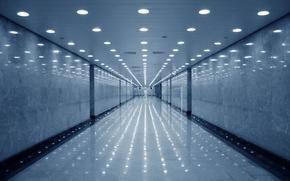 Картинка пустота, отражение, коридор, светильники
