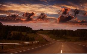 Картинка дорога, лес, лето, небо, тучи, вечер