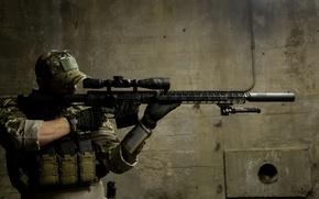 Картинка фон, солдат, оптика, винтовка, снайперская