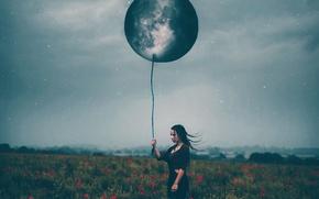 Картинка девушка, луна, шар, маки, звёзды, Amy Spanos