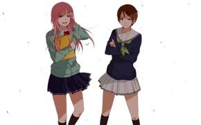 Картинка арт, школьницы, Kuroko No Basket, аниме, девушки, Momoi Satsuki, Aida Riko, Баскетбол Куроко