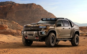 Обои automobile, robust, Chevrolet, power, wallpaper, sand, beauty on wheels, ZH2, camouflage, bold lines, high tech, ...