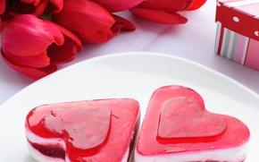 Картинка праздник, подарок, сердце, букет, Красные, сердечки, тюльпаны, сладкое, два сердца, дессерт