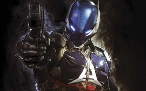 Картинка пистолет, оружие, дуло, броня, голограмма, Warner Bros, Rocksteady Studios, Batman: Arkham Knight, Рыцарь Аркхэма