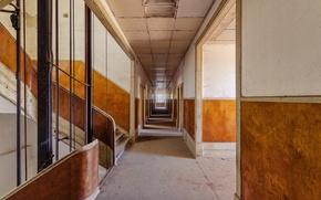 Картинка shadows, sunlight, abandoned, stairs, corridor, decay, elevator