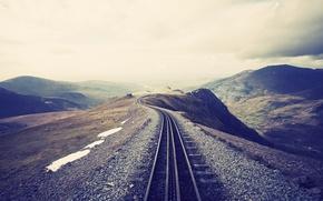 Картинка mountains, height, railroad, tracks