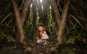 Картинка лес, девочка, рыжеволосая, Woodland Fairy
