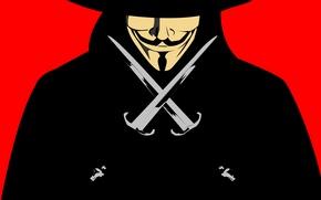 Обои v for vendetta, daggers, Guy Fawkes, гай фокс, в значит вендетта, mask, кинжалы, маска