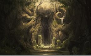 Картинка лес, корни, тайна, Камни, иероглифы, пещера, древность