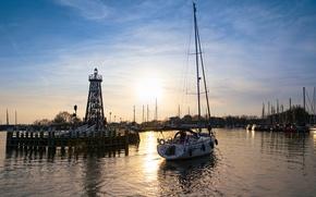 Картинка яхты, утро, причал, Нидерланды, гавань, Enkhuizen