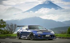 Обои тюнинг, гора, Япония, Toyota, Supra