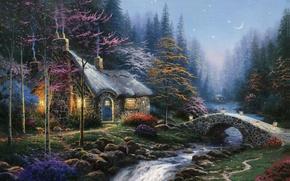Картинка осень, лес, река, луна, звёзды, ели, фонари, сумерки, живопись, мостик, коттедж, берёзы, Томас Кинкейд, painting, …