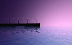 Картинка море, закат, фонари, пирс, walk with me