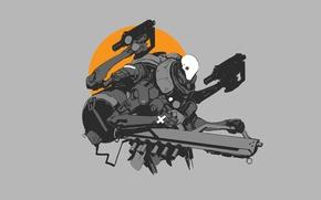 Картинка солнце, оружие, робот, пушки, guns, киборг, Robot, sun, cyborg