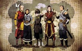Обои Avatar, The Legend of Korra, Аанг, Тоф, Зуко, Сока, Момо, Аватар, Катара, друзья, карта
