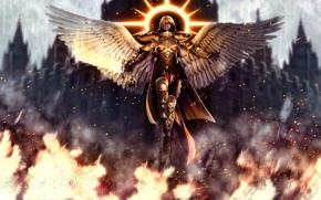 Картинка девушка, фентези, огонь, игра, крылья, ангел, меч, доспехи, собор, броня, цепи, Warhammer 40000, нимб, мученица, ...