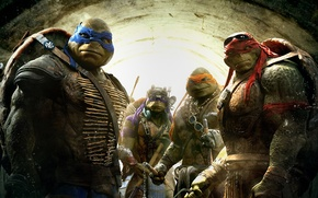 Картинка Fantasy, Green, TMNT, Raphael, Leonardo, Donatello, Teenage Mutant Ninja Turtles, Weapons, Leo, Movie, Paramount Pictures, ...