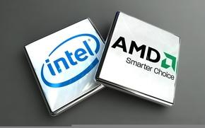 Обои Логотип, AMD, Intel