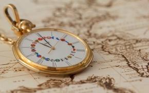 Картинка стиль, часы, карта