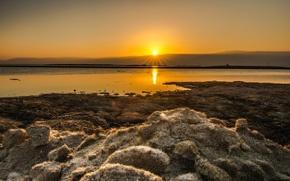 Картинка рассвет, берег, Dead Sea, Мертвое море