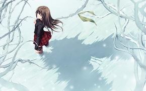 Обои нежность, мороз, дерево, девушка, снег