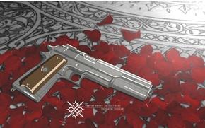 Обои оружие, Vampire Knight, лепестки, пистолет