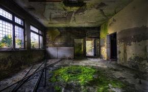 Обои заброшенное здание, трубы, мох