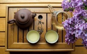 Картинка стол, чайник, чаепитие, ваза, сирень, поднос, глиняный, пиалы