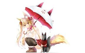 Картинка Арт, duji amo, девушка, зонт, ушки, лиса, улыбка, аниме, хвост