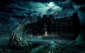Картинка замок, Ночь, полнолуние, проклятое место