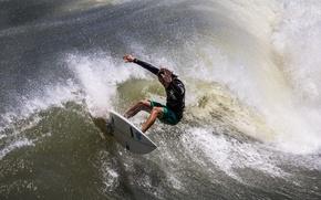 Картинка волна, человек, доска, сёрфинг