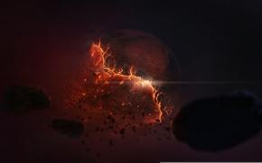 Картинка космос, планета, арт, разрушение