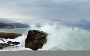 Картинка облака, шторм, скала, Море, прибой, набережная
