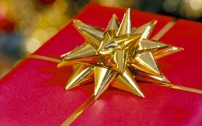 Обои макро, красный, праздник, подарок, новый год, new year, бантик