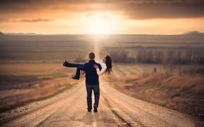 Картинка дорога, путь, простор, пара, влюблённые
