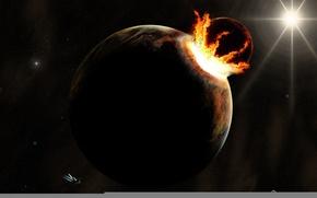 Обои корабль, планеты, столкновение.разрушение
