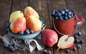 Картинка тарелка, черника, ягоды, натюрморт, фрукты, Anna Verdina, груши, посуда