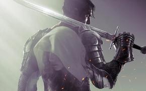 Обои Девушка, Доспехи, Меч, Воин, Капюшон, Броня, Рыцарь, Namco Bandai Games, Dark Souls 2, From Software, ...