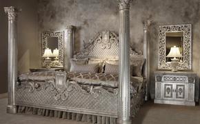 Картинка комната, кровать, интерьер, зеркало, спальня