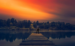 Картинка lake, man, reflection, pier, sunlight, long exposure