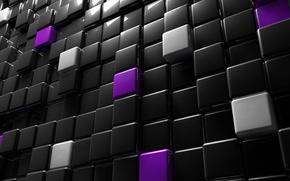 Картинка расположение, графика, рендеринг, отражение, освещение, кубы, фигуры, кубики, порядок, блики, отсветы