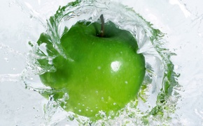 Обои яблоко, вода, зеленый, green