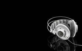 Обои white headphones, Белые наушники, отражение