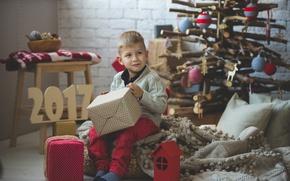 Картинка елка, ребенок, мальчик, подарки, Новый год, Christmas, boy, New Year, декорация, gifts, 2017
